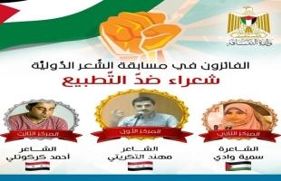 """الثقافة بغزة تعلن أسماء الفائزين بمسابقة """"شعراء ضد التطبيع"""" الدولية"""