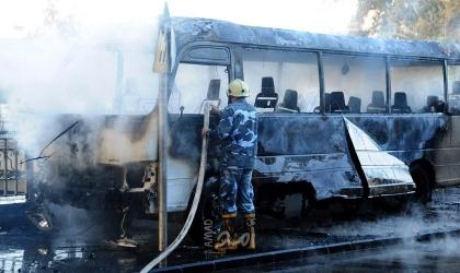 سانا: قتلى وجرحى جراء في تفجير إرهابي ضد حافلة للجيش وسط دمشق